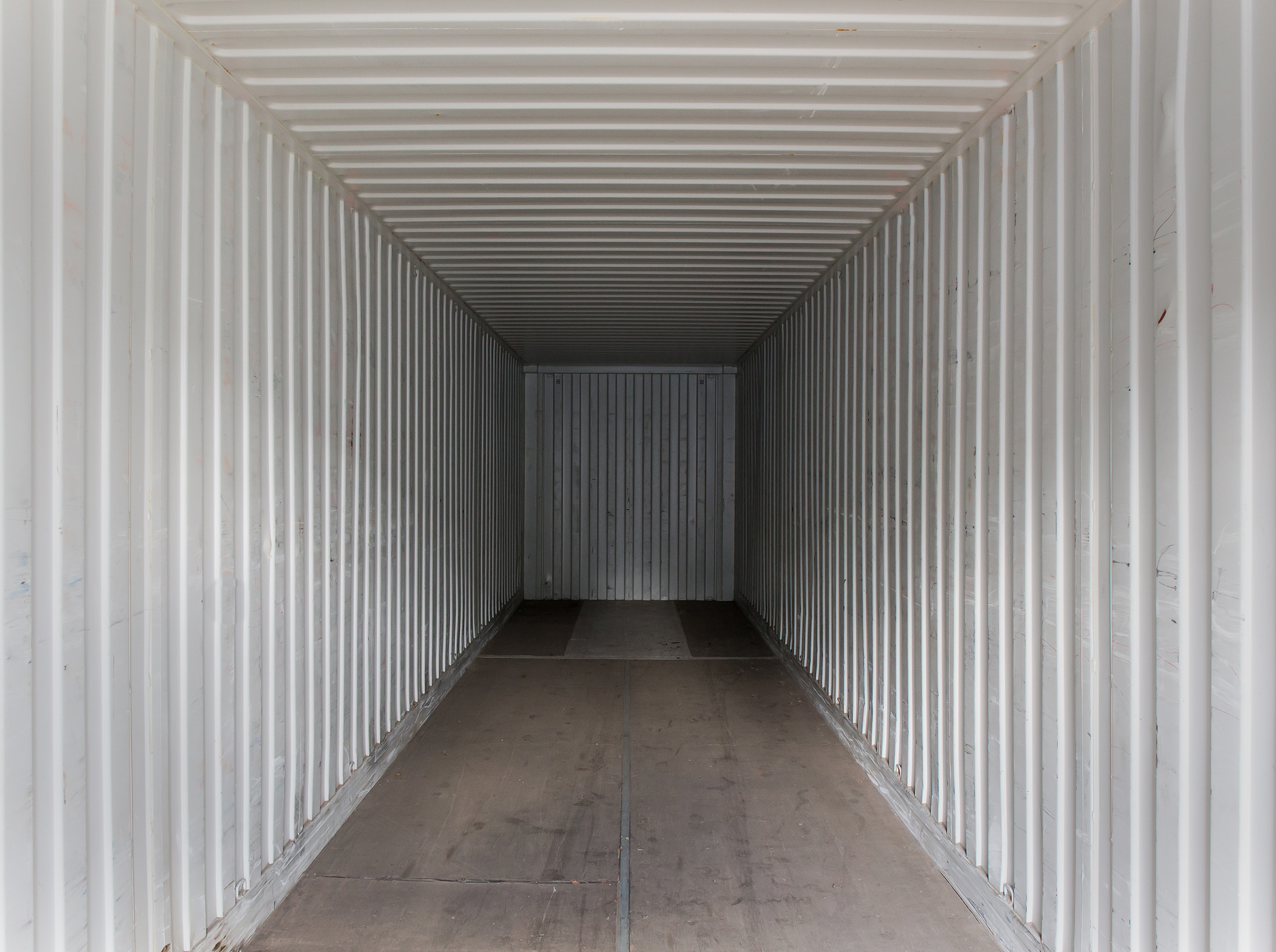Empty cargo sea container. View from inside.